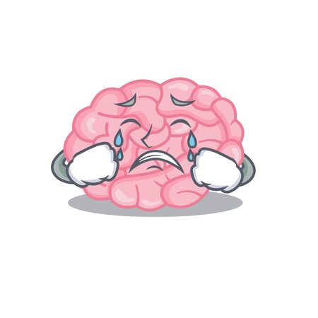 Cartoon character design of human brain with a crying face. Vector illustration