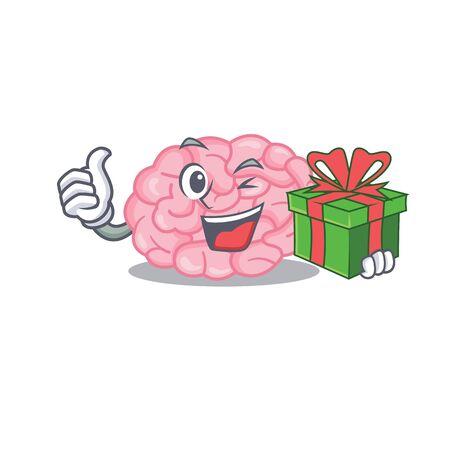 Smiling human brain cartoon character having a green gift box. Vector illustration