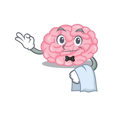 A cartoon character of human brain waiter working in the restaurant. Vector illustration