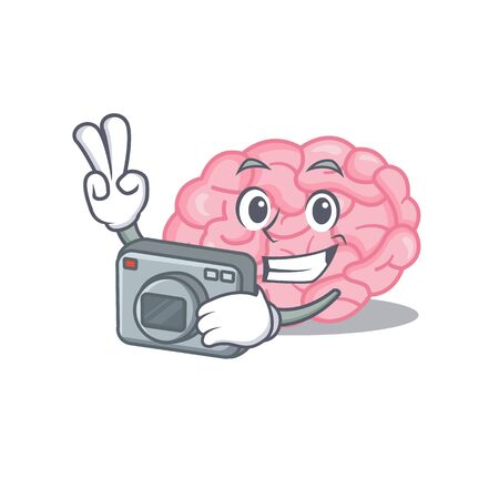 Human brain mascot design as a professional photographer working with camera. Vector illustration