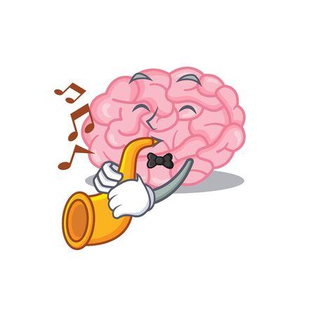 Talented musician of human brain cartoon design playing a trumpet. Vector illustration