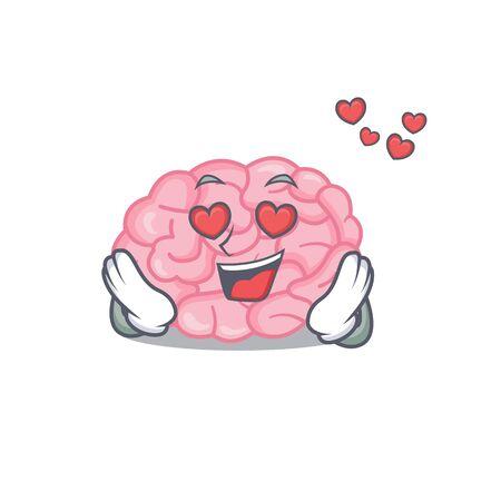Cute human brain cartoon character has a falling in love face. Vector illustration