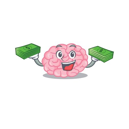 A wealthy human brain cartoon character having money on hands. Vector illustration
