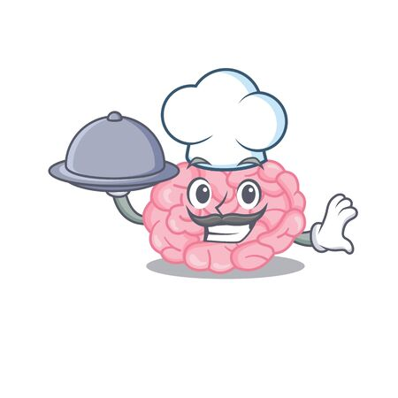 Human brain chef cartoon character serving food on tray. Vector illustration
