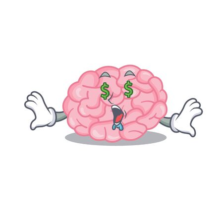 Rich cartoon character design of human brain with money eyes. Vector illustration