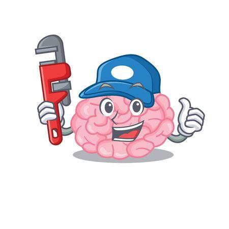 Human brain Smart Plumber cartoon character design with tool. Vector illustration
