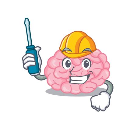 cartoon character of human brain worked as an automotive mechanic. Vector illustration