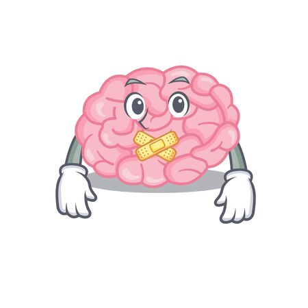 Human brain cartoon character style with mysterious silent gesture. Vector illustration