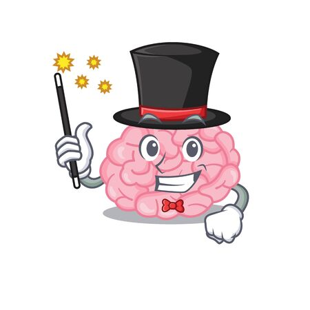 An attractive Magician of human brain cartoon design. Vector illustration