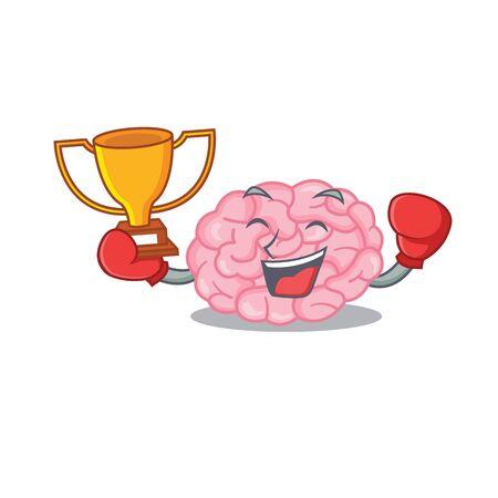 An elegant boxing winner of human brain mascot design style. Vector illustration