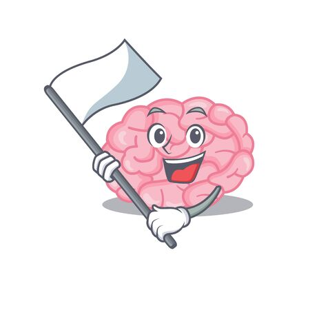 A nationalistic human brain mascot character design with flag. Vector illustration