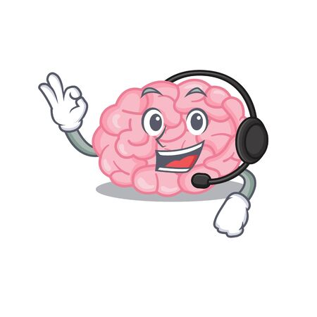A gorgeous human brain mascot character concept wearing headphone. Vector illustration