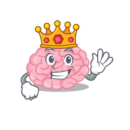 A Wise King of human brain mascot design style. Vector illustration