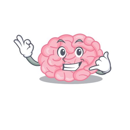 Cartoon design of human brain with call me funny gesture. Vector illustration