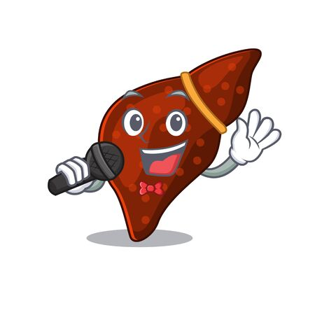 Talented singer of human cirrhosis liver cartoon character holding a microphone. Vector illustration 向量圖像