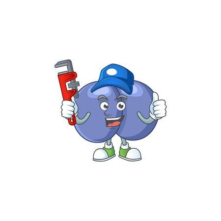 Mascot design concept of streptococcus pneumoniae work as smart Plumber. Vector illustration