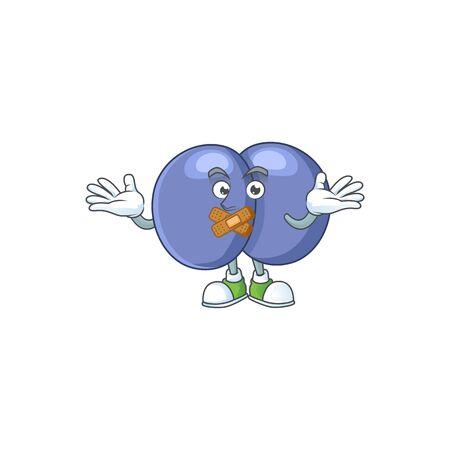 Streptococcus pneumoniae mascot cartoon design with quiet finger gesture. Vector illustration Vectores