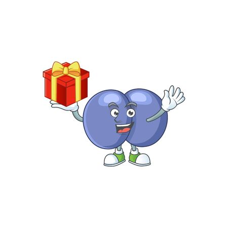 Charming streptococcus pneumoniae mascot design has a red box of gift. Vector illustration
