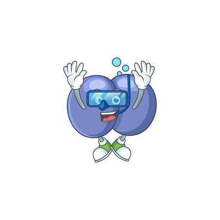 Mascot design concept of streptococcus pneumoniae wearing Diving glasses. Vector illustration