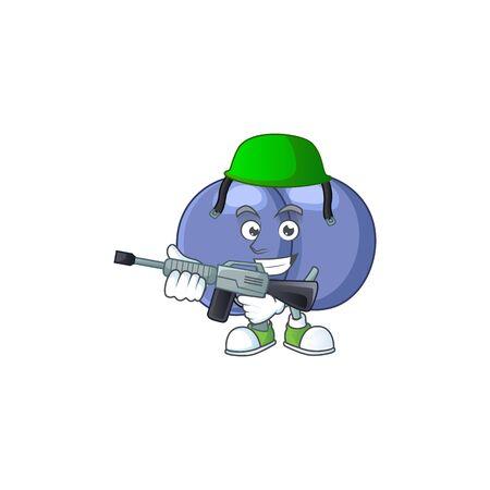 An elegant streptococcus pneumoniae Army mascot design style using automatic gun. Vector illustration