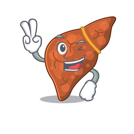Happy human fibrosis liver cartoon design concept with two fingers Ilustración de vector