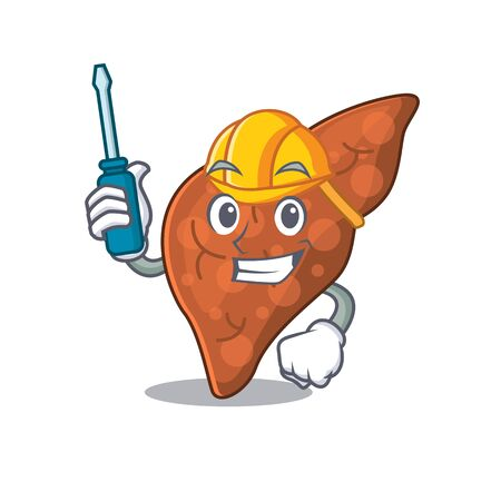 cartoon character of human fibrosis liver worked as an automotive. Vector illustration