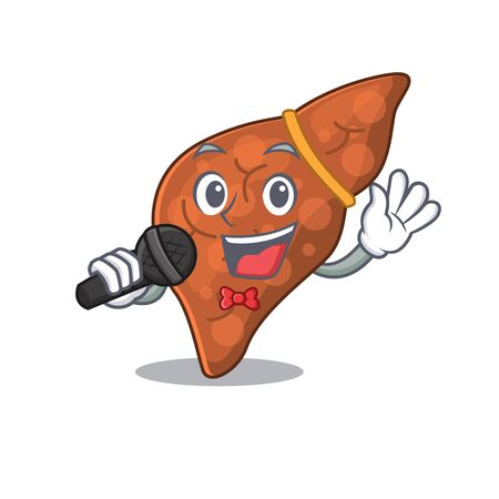 Talented singer of human fibrosis liver cartoon character holding a microphone. Vector illustration