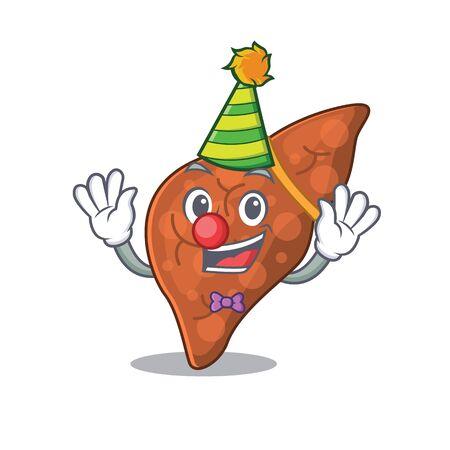 cartoon character design concept of cute clown human fibrosis liver