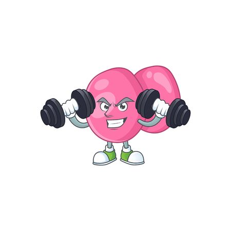 Fitness exercise streptococcus pyogenes cartoon character using barbells. Vector illustration