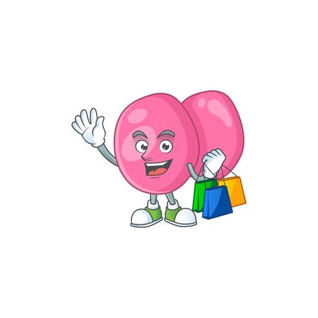 cartoon character concept of rich streptococcus pyogenes with shopping bags. Vector illustration