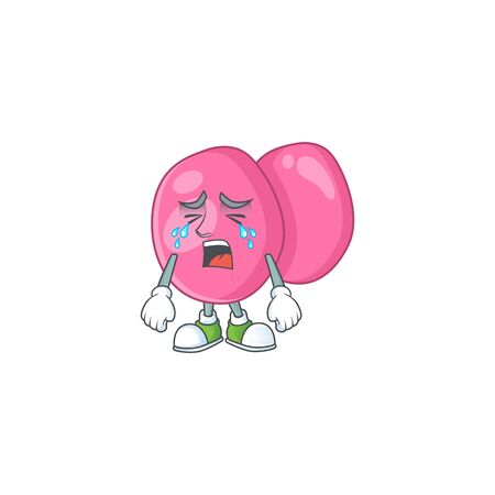 A weeping streptococcus pyogenes cartoon character concept. Vector illustration Illustration