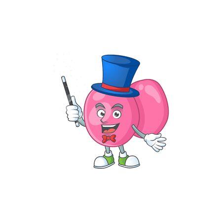 Talented streptococcus pyogenes Magician cartoon design style. Vector illustration