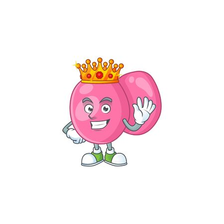 The Charismatic King of streptococcus pyogenes cartoon character design wearing gold crown. Vector illustration Illusztráció