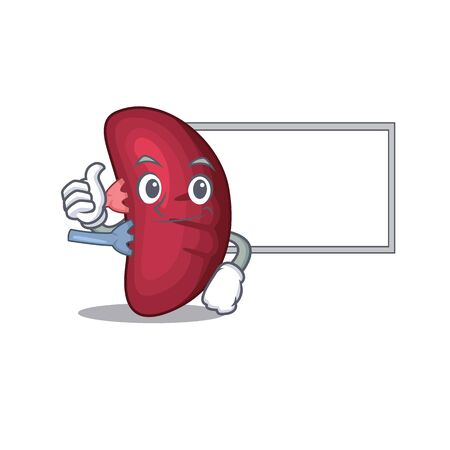 Humorous human spleen cartoon design Thumbs up bring a white board