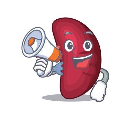 Cartoon character of human spleen having a megaphone Vettoriali