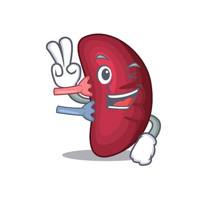 Happy human spleen cartoon design concept with two fingers