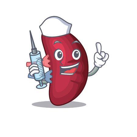 A nice nurse of human spleen mascot design concept with a syringe Иллюстрация