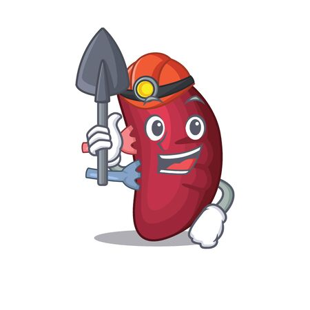 Human spleen miner cartoon design concept with tool and helmet. Vector illustration