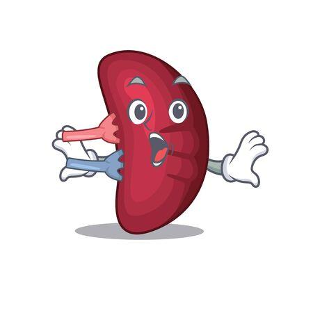 Cartoon design style of human spleen has a surprised gesture. Vector illustration