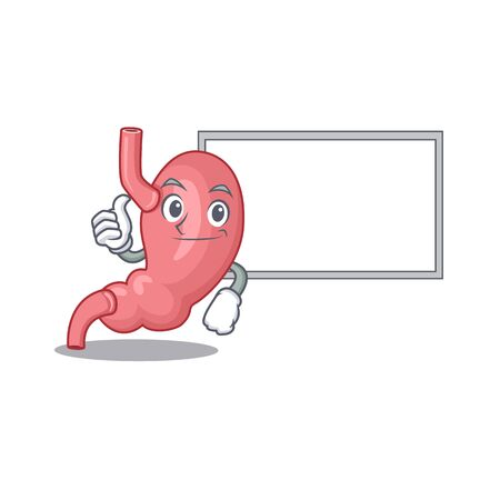 Humorous human stomatch cartoon design Thumbs up bring a white board. Vector illustration Illustration