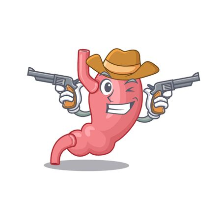 Cute handsome cowboy of human stomatch cartoon character with guns