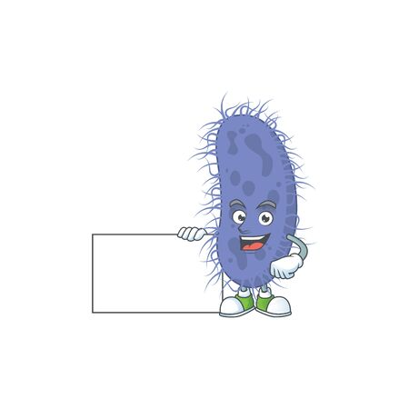 Salmonella typhi cartoon character concept Thumbs up having a white board. Vector illustration Vectores