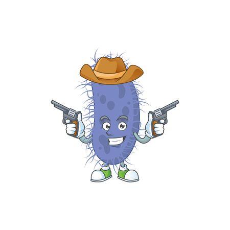 A cowboy cartoon character of salmonella typhi holding guns. Vector illustration