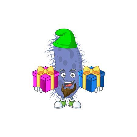 A smiling salmonella typhi cartoon design having Christmas gifts. Vector illustration