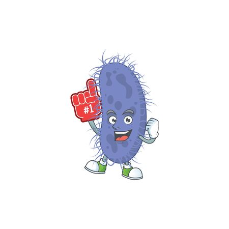 Cartoon character concept of salmonella typhi holding red foam finger