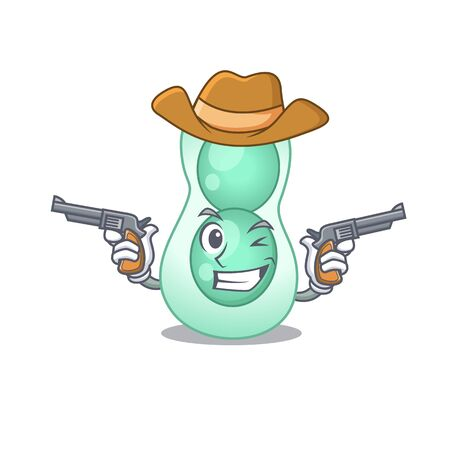 Cute handsome cowboy of serratia marcescens cartoon character with guns