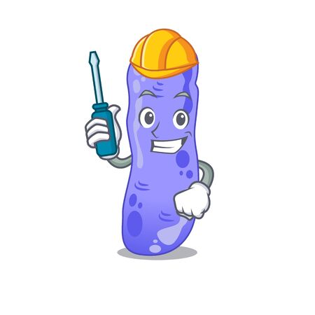 cartoon character of legionella worked as an automotive mechanic