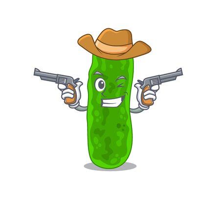 Cute handsome cowboy of legionella micdadei cartoon character with guns