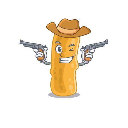 Cute handsome cowboy of shigella flexneri cartoon character with guns