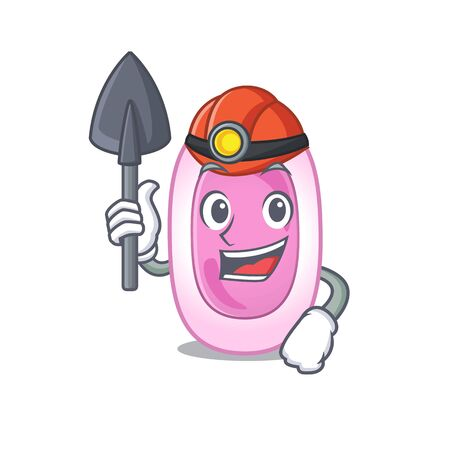 Bordetela pertussis miner cartoon design concept with tool and helmet